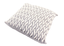 Load image into Gallery viewer, Cabled Zig-Zag Grey & White Knitted Cushion