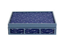Load image into Gallery viewer, Trinket Box - Patterned Blue Fabric Covered