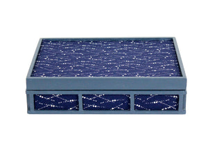 Trinket Box - Patterned Blue Fabric Covered
