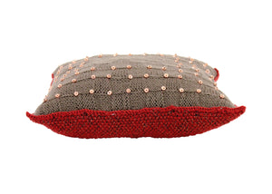 Chocolate & Copper Beaded Knitted Cushion