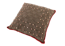 Load image into Gallery viewer, Chocolate & Copper Beaded Knitted Cushion