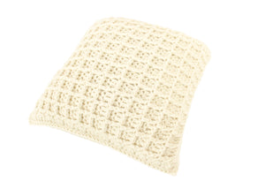 Waffle Stitch Ivory Crocheted Cushion