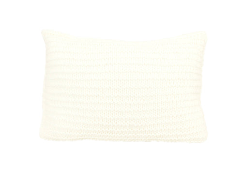Garter Stitch White Knitted Cushion