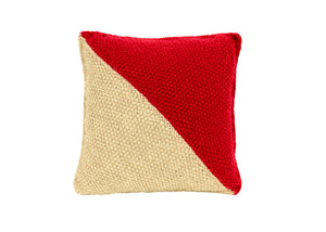 Diagonal Dark Red and Grey Knitted Cushion