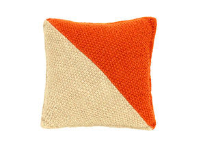Diagonal Orange & Grey Knitted Cushion