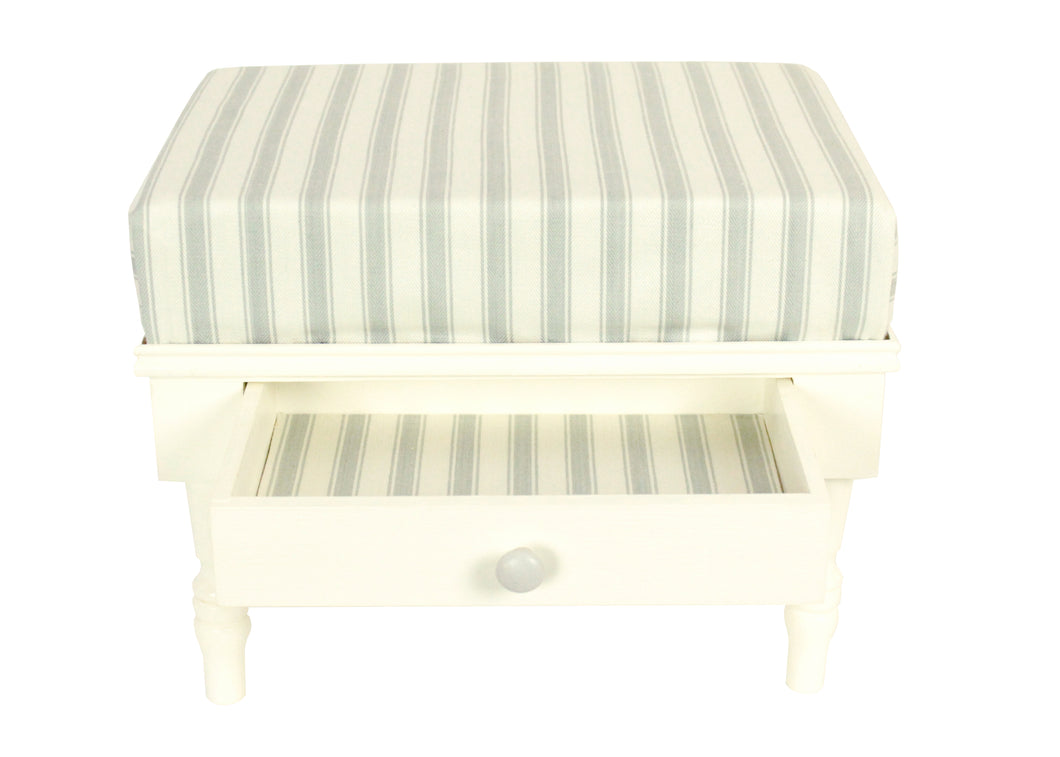 Stool - Grey & Ivory Fabric Top With Storage Drawer