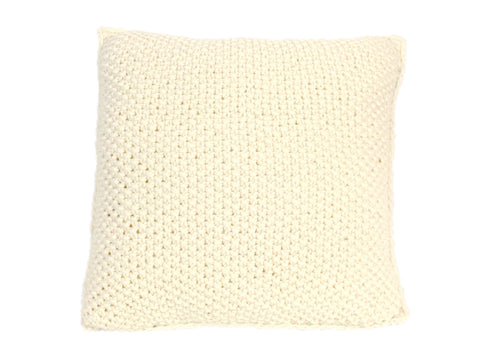 Moss Stitch Ivory Knitted Cushion