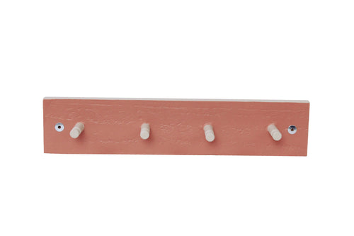Four Peg Coat Rack - Terracotta & Grey
