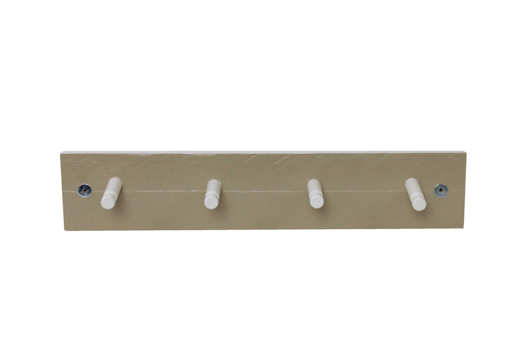 Four Peg Coat Rack - Ochre & White