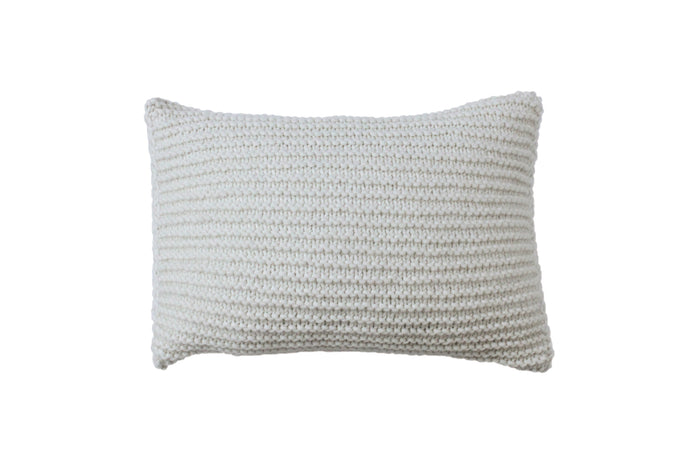 Garter Stitch Ivory Knitted Cushion