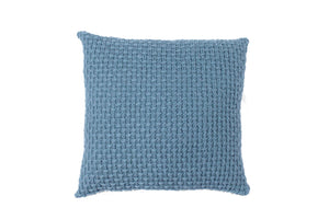 Basket Weave Blue-Grey & Ivory Knitted Cushion