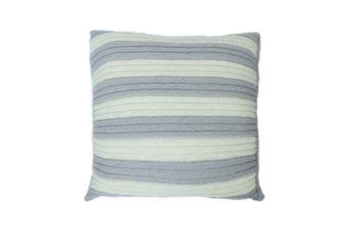 Ivory & Grey Striped Knitted Cushion