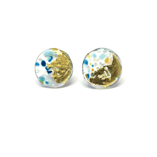 Midi Glass Studs - Beach Pebble
