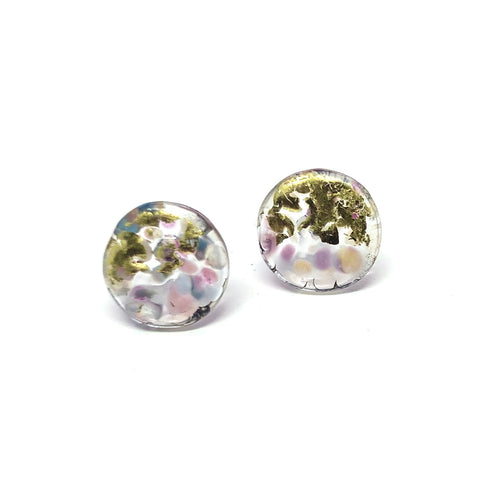 Midi Glass Studs - Cotton