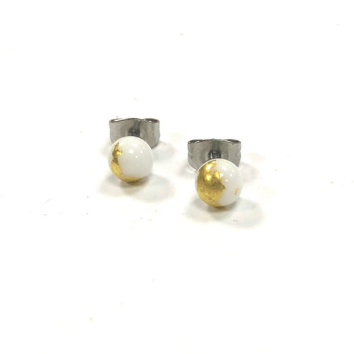 Mini Glass Studs - White