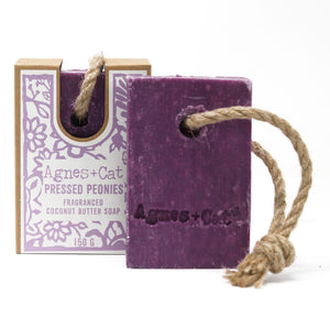 Agnes & Cat Soap on a Rope - Pressed Peonies