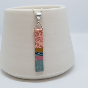 Hand Painted Pendant - Pink & Duck Egg