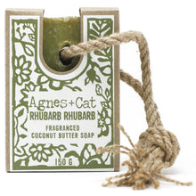 Load image into Gallery viewer, Agnes & Cat Soap on a Rope - Rhubarb Rhubarb