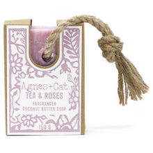 Load image into Gallery viewer, Agnes & Cat Soap on a Rope - Tea & Roses