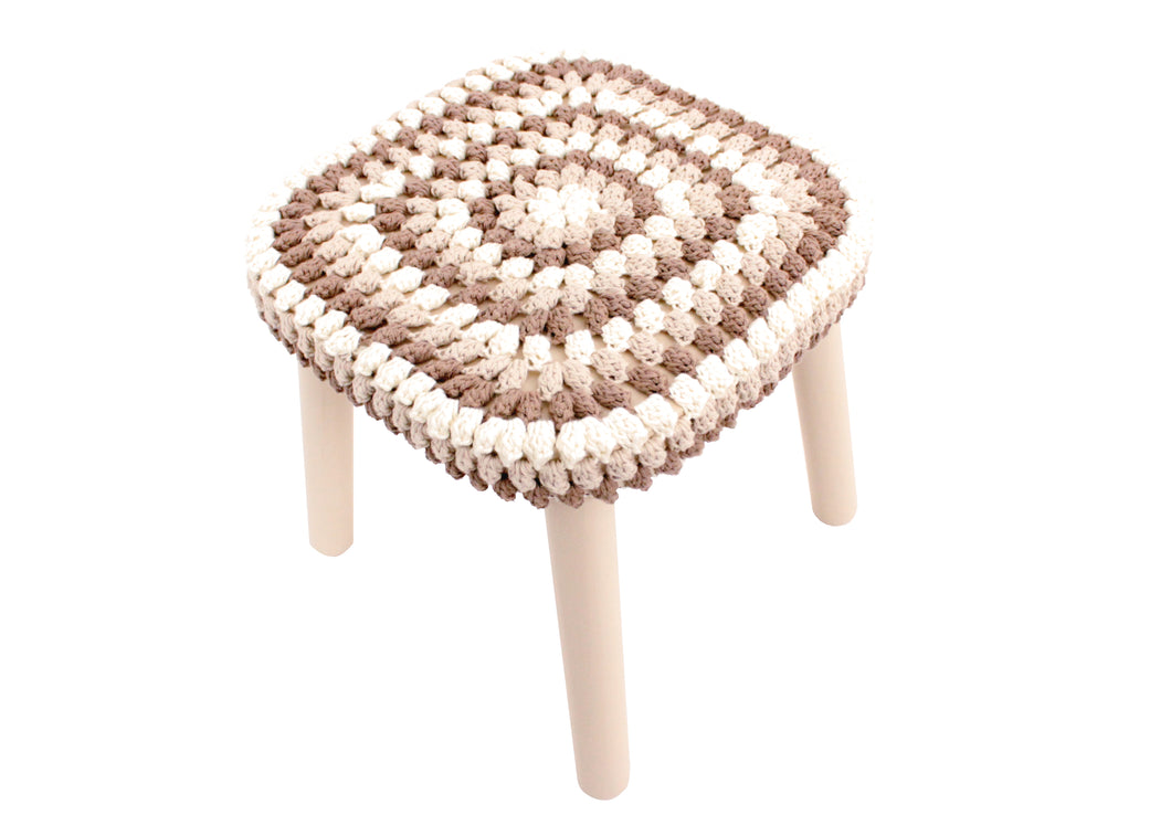 Granny Stitch Stool in Natural, Beige & Chocolate Crochet