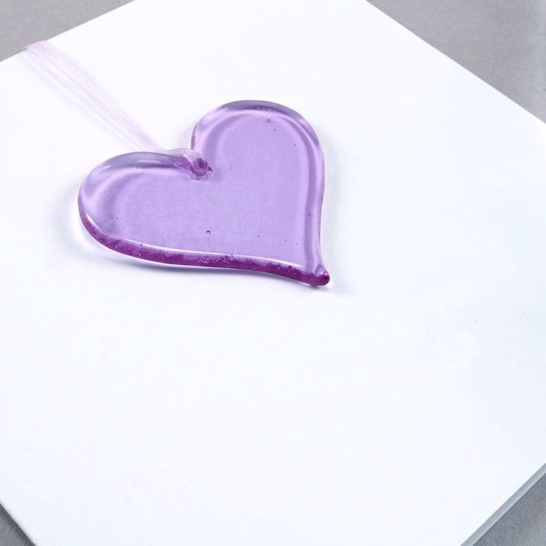 Purple Glass Heart <br> Greetings Card