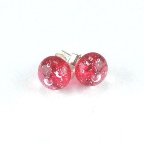 Raspberry Bubble <br> Fused Glass Earrings