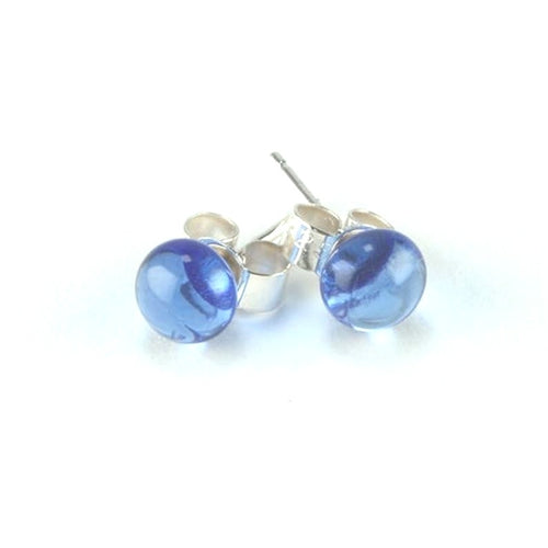 Blue Dot <br> Fused Glass Earrings
