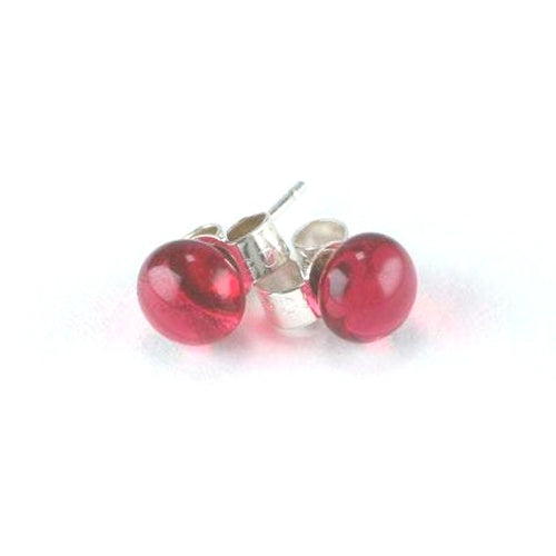 Raspberry Dot <br> Fused Glass Earrings