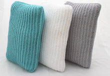 Load image into Gallery viewer, Garter Stitch Light-Blue Knitted Cushion