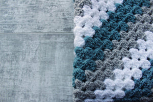Granny Stitch White Crochet Blanket - Blue, Grey & White