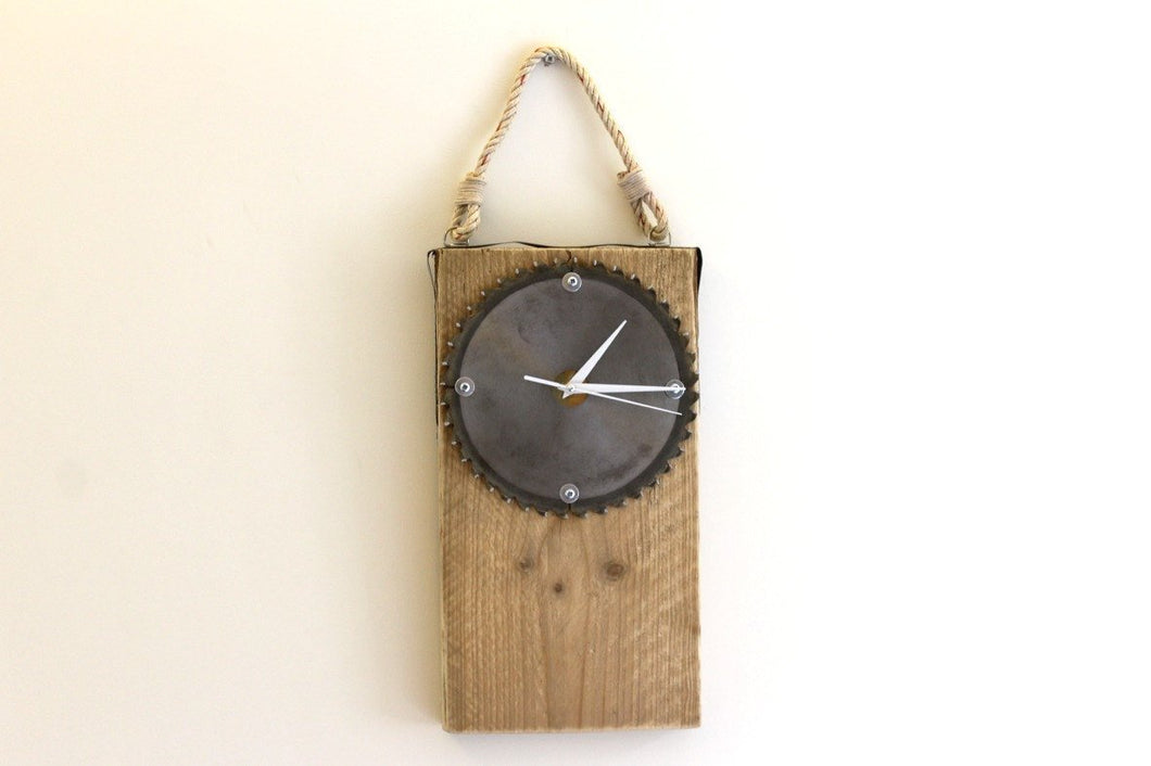 Wall Clock - Industrial Saw Face & Painter's Plank