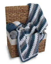 Load image into Gallery viewer, Granny Stitch White Crochet Blanket - Blue, Grey & White