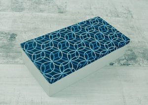 Handmade Keepsake Box <br> Deep Blue & Pale Grey