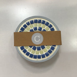 Mosaic Coaster Set Blue & Cream