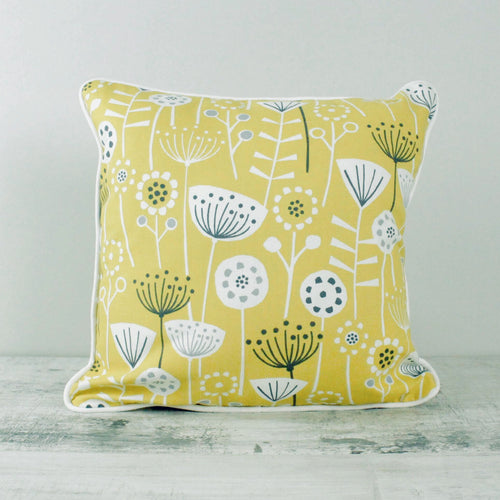 Fabric Cushion Mid-Century Scandi - Mustard