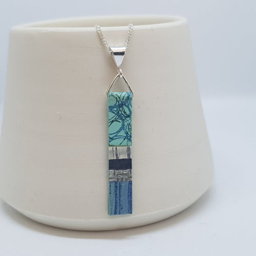 Hand Painted Pendant - Mint, Blue & Grey