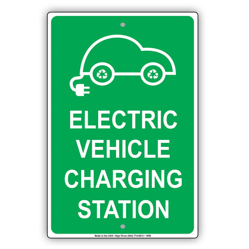 Electric Vehicle Charging Station EV  Metal Sign