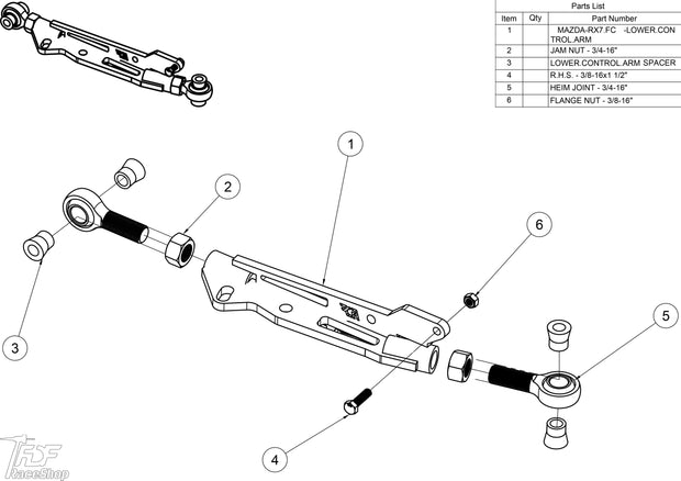 Rx7 Lower Control Arm assembly