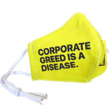 Corporate Greed Is A Disease Face Mask with pocket for filter
