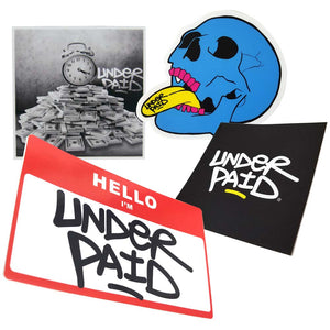 Underpaid Vinyl Stickers Pack ( 4 stickers )