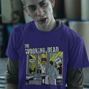 Underpaid Clothing - The Working Dead - Design Up close - Purple Lifestyle shot