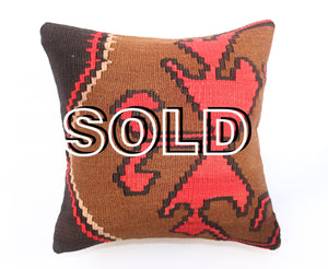 "SOLD...Vintage Turkish Kilim Cushion - 39cmx39cm (15""x15"")"