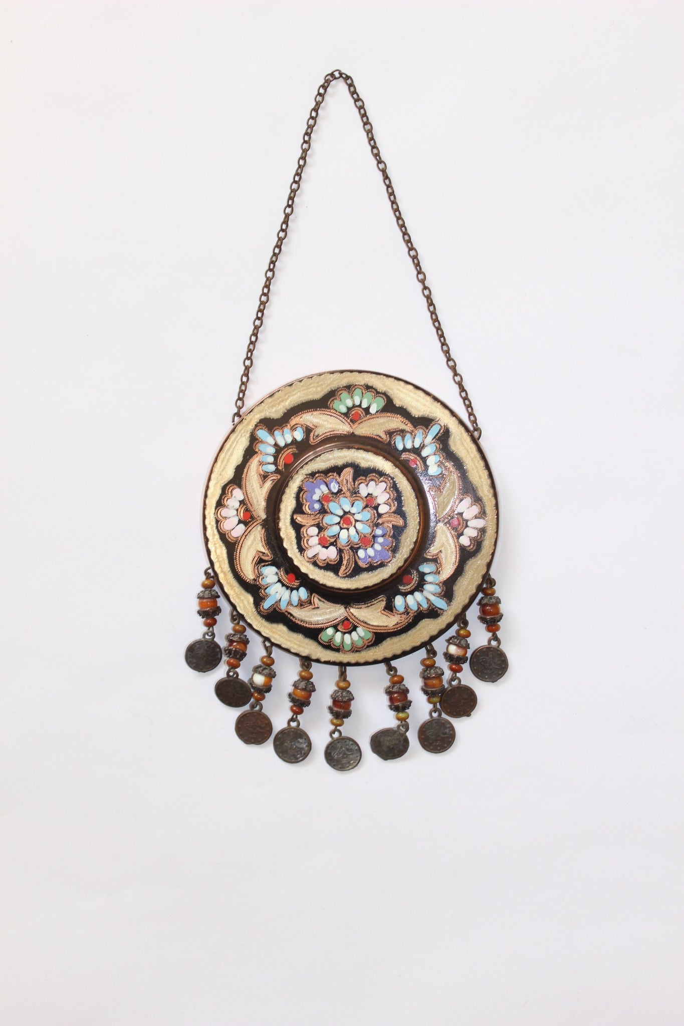 "Turkish Copper Wall Hanging (Brown)- Diameter 11cm (4.5"") Measurement does not include chain or beads"