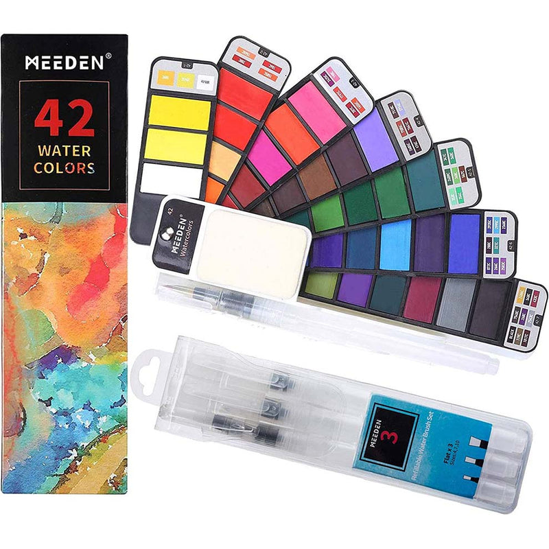 Watercolor Paint Set, 42 Assorted Colors Foldable Paint Set with 4 Brushes
