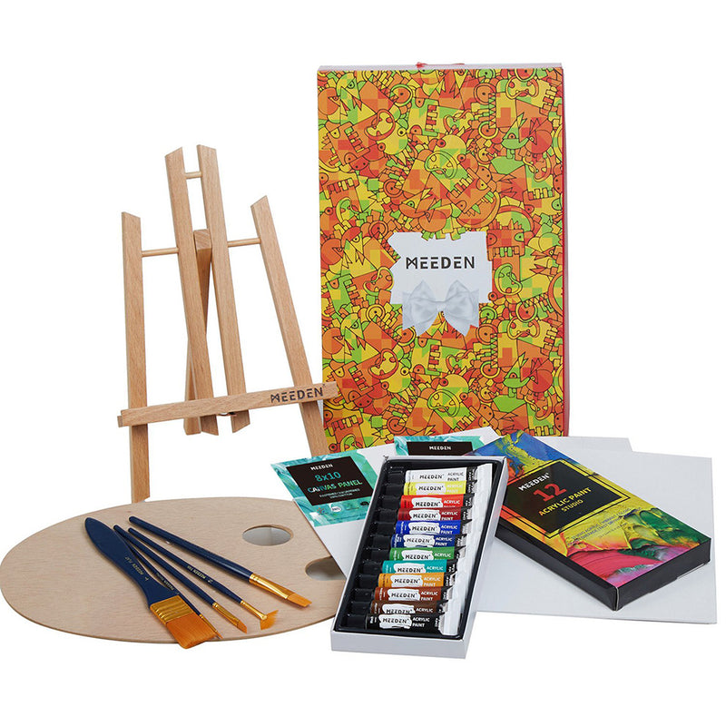 22 Pcs Acrylic Painting Set with 11.8'' Tabletop Easel