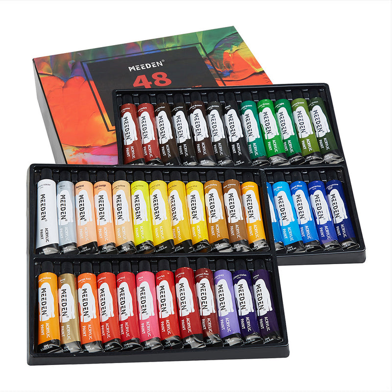 Acrylic Paint Set, 48 Colors/Tubes (22ml/0.74 oz) Non Toxic Non Fading