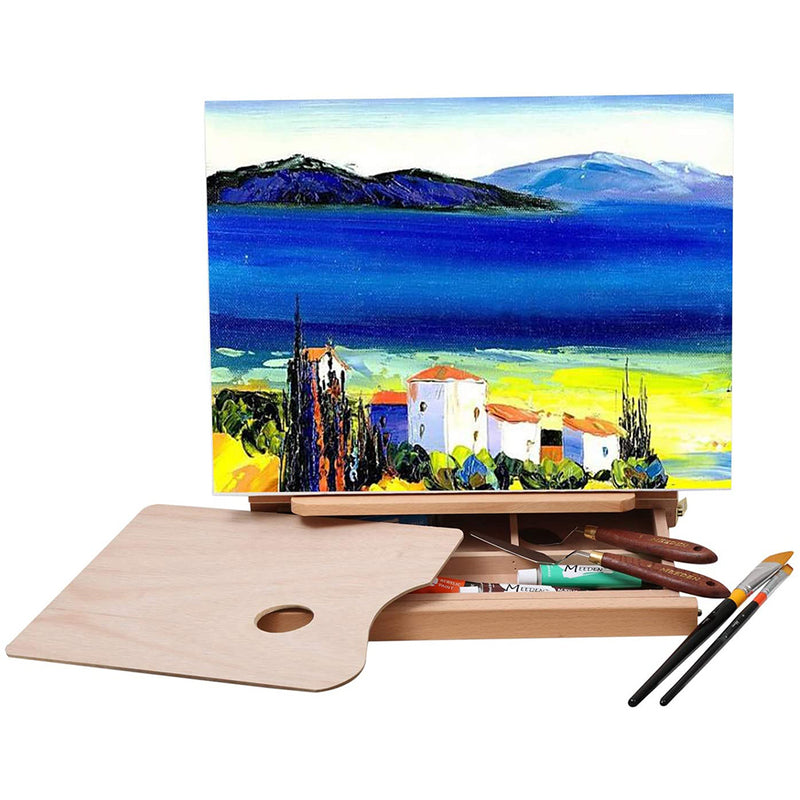 Table Sketch Box Easel -Portable Solid Beech Tabletop Wood Easel Drawing
