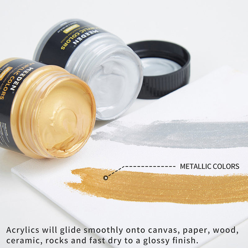 Acrylic Paint Set of 15 Colors (100ML/3.38 oz) Non Toxic Vibrant Colors Rich Pigments