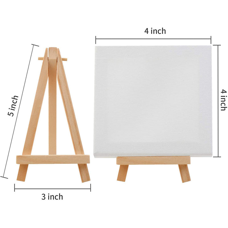 12Pack 4*4 Inch Stretched Canvas with 5 Inch wood Easels