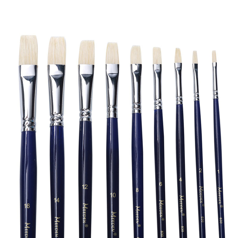 9 PCS Artist Flat Paint Brush Set Hog Bristle Hair Paint Brushes